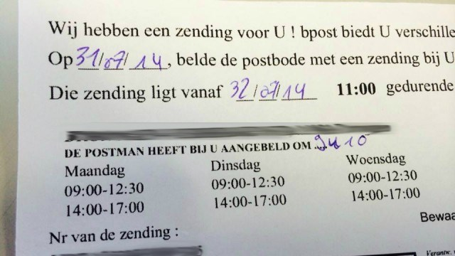 Postpakket kan afgehaald worden vanaf 32 juli