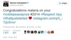 "Britse actrice en model Naomi Campbell feliciteert ""malaria"""