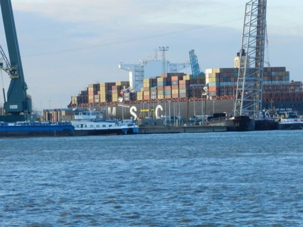 Containerreus weer vertrokken langs Berendrechtsluis
