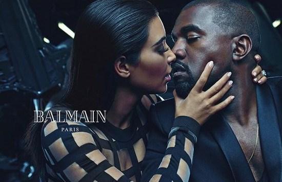Kim Kardashian en Kanye West poseren voor modecampagne