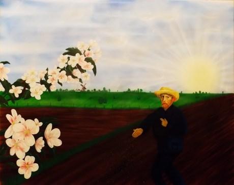 Schilderij van Leo op Franse tentoonstelling