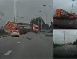 Spectaculaire beelden van ongeval E17: truck slingert over weg