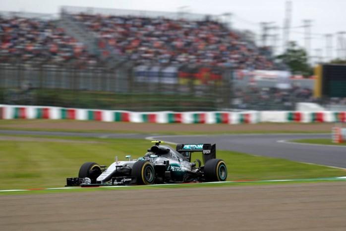 Rosberg wint spannende strijd om polepositie GP van Japan