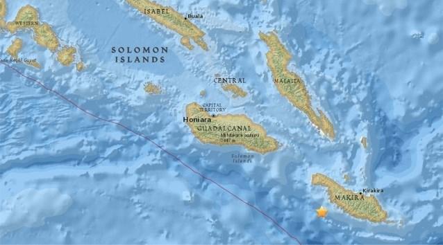 Aarde beeft opnieuw ter hoogte van de Salomonseilanden