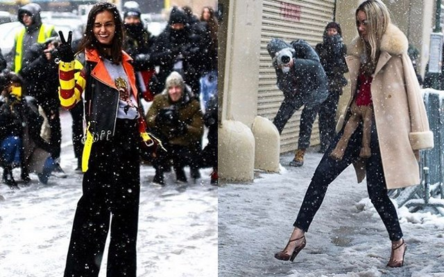 Fashionista's trotseren de sneeuw, desnoods op hoge hakken