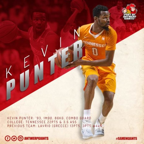 Kevin Punter naar Port of Antwerp Giants