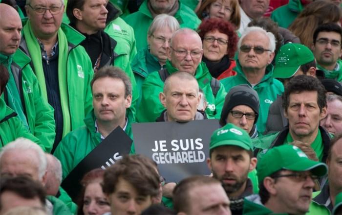 Duizendtal vakbondsmilitanten verzameld aan Wetstraat