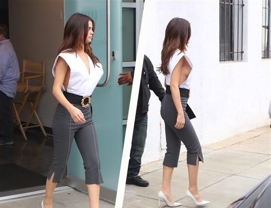 Selena Gomez op stap in 'gevaarlijke' blouse