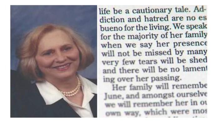 """Overlijdensbericht van vrouw (82) gaat viraal: """"Ze zal niet gemist worden"""""""