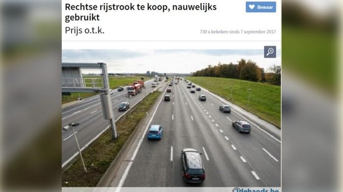 """Grapjas zet alle rechterrijstroken in Vlaanderen te koop: """"Omdat geen hond ze gebruikt"""""""