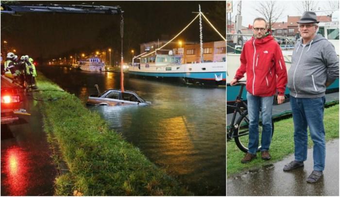 """Koelbloedige schipper en fietser redden vrouw (88) uit kanaal: """"Een minuut later zou het niet meer zijn gelukt"""""""