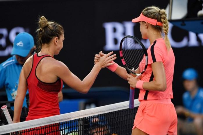Eugenie Bouchard kan nummer één Simona Halep niet verrassen op Australian open