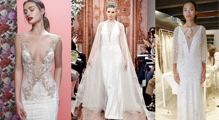 Broekpakken en diepe decolletés: de trends van de bruidsmodeweek in New York