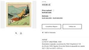 Zeldzame Kuifje-aquarel geveild voor 607.500 euro
