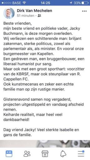 Oud-burgemeester van Kapellen Jacky Buchmann is overleden