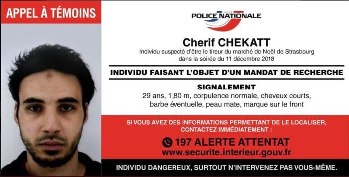 Franse politie lanceert oproep met foto in de hoop dader schietpartij Straatsburg te vinden
