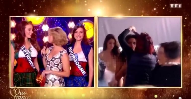 Gênant moment tijdens live-uitzending Miss France: kandidates plots naakt in beeld