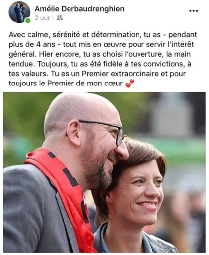 """Vriendin van Charles Michel op Facebook: """"Altijd de premier van mijn hart"""""""