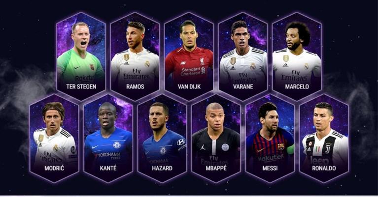 Eden Hazard in Europees team van het Jaar, De Bruyne niet