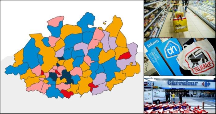 KAART. Overaanbod aan supermarkten: zoveel winkeloppervlakte is er in uw gemeente