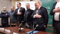 Heerlijke beelden: nieuwe voorzitter François De Keersmaecker zingt uit volle borst het clublied van Racing Mechelen
