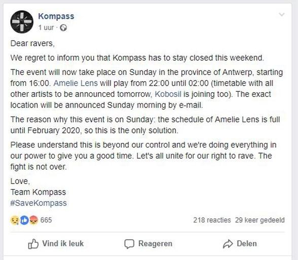 Gentse Kompass Klub blijft dicht, optreden Amelie Lens verhuist naar Antwerpen