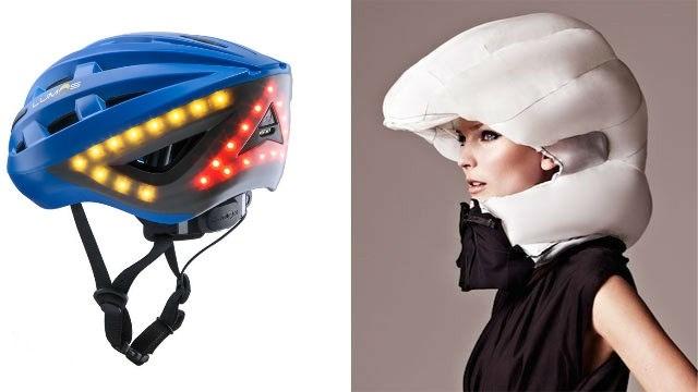 Een airbag op uw hoofd, of toch liever een helm met ledlampjes? Dit is er op de markt