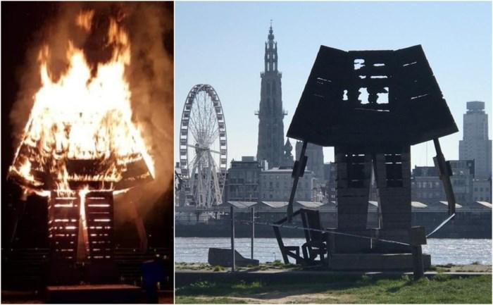"""Vandalen steken kunstwerk op Linkeroever in brand: """"Recent nog gerenoveerd, maar er waren al plannen om het af te breken"""""""