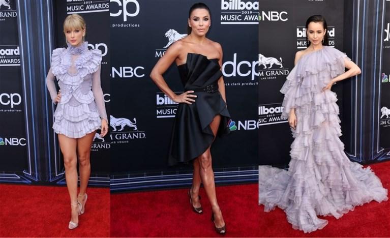 Glitter, glans en ruches: sterren schitteren op rode loper Billboard Awards
