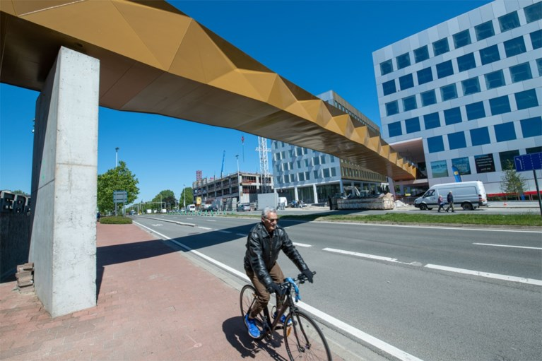 Rode loper uitgerold op nieuwe wandelbrug aan Berchem Station