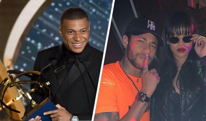 Mbappé zinspeelt op vertrek bij PSG wanneer hij prijs komt ophalen, ondertussen zet Neymar de bloemetjes buiten met Rihanna