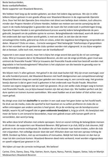 """Clubmedewerkers Waasland-Beveren in open brief: """"Kijken uit naar correcte rechtspraak. <I>We believe</I>!"""""""