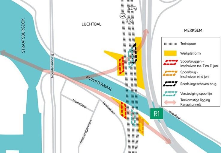 Treinverkeer ondervindt komend weekend hinder door plaatsen spoorbruggen in Antwerpen