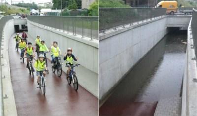 Fietstunnel officieel geopend, maar meteen weer gesloten door hevige regenval