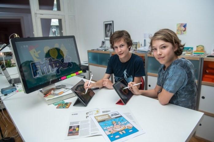 Kobe en Mingus (14) lanceren 'Fritpak': jongste cartoonisten ooit op Cartoonfestival