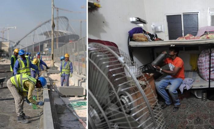 WK voetbal in Qatar lijkt steeds meer op massagraf: honderden arbeiders vallen dood door de hitte
