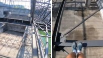 Waaghals doet monden openvallen met stunt op metalen balken
