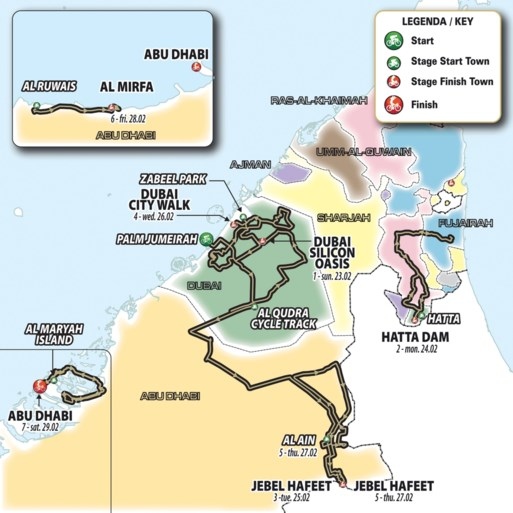 Peloton UAE Tour komt twee keer aan op de top van Jebel Hafeet, de Tourmalet van de Emiraten