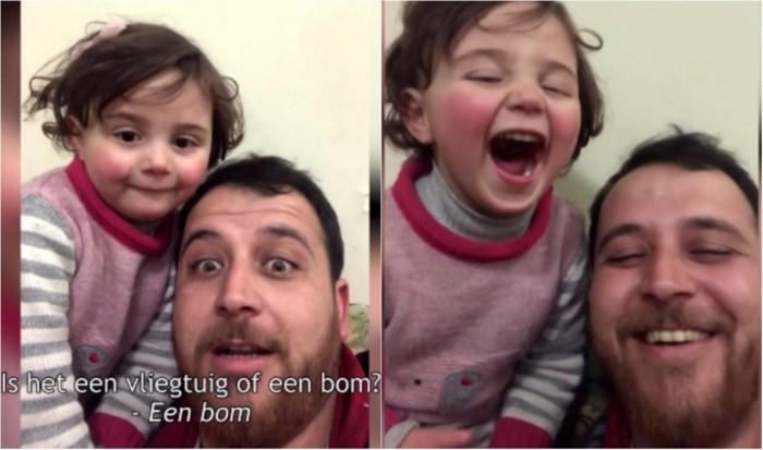 Waarom Abdullah (32) zijn dochter Salwa (3) leert gieren tijdens bominslag