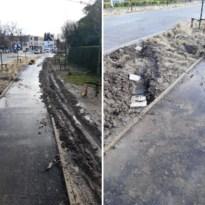 Duizenden euro schade: automobilist probeert via fietspad voorbij werf te geraken