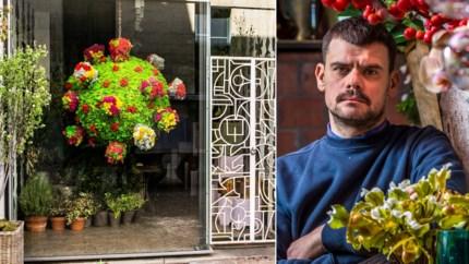 Coronavirus inspireert Antwerpse bloemist: prachtig virusbloemstuk siert etalage