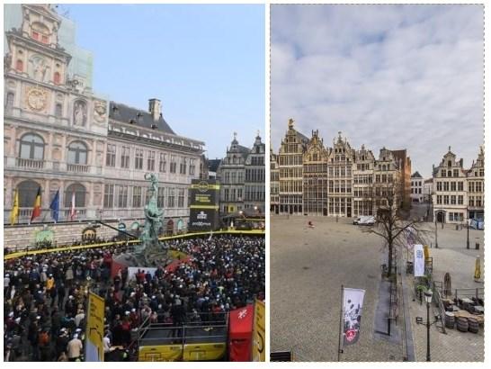 Vorig jaar 'zwart van het volk', nu leegte overal: onze reporter reed de eerste kilometers van de Ronde
