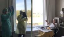 Verzorgend personeel op corona-afdeling zingt voor jarige Irma (90)