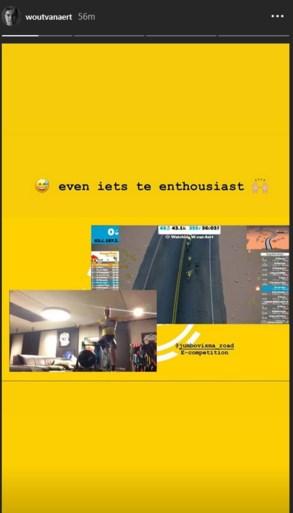 Wout van Aert triomfeert in virtuele wedstrijd van Jumbo-Visma, maar lacht met zichzelf