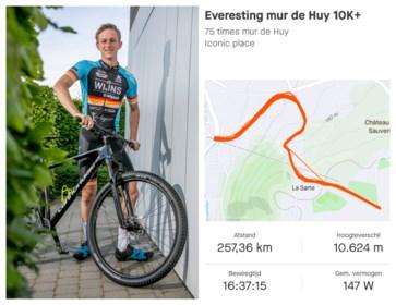 23-jarige Thijs fietst 75 maal de Muur van Hoei naar boven op boterhammen met choco