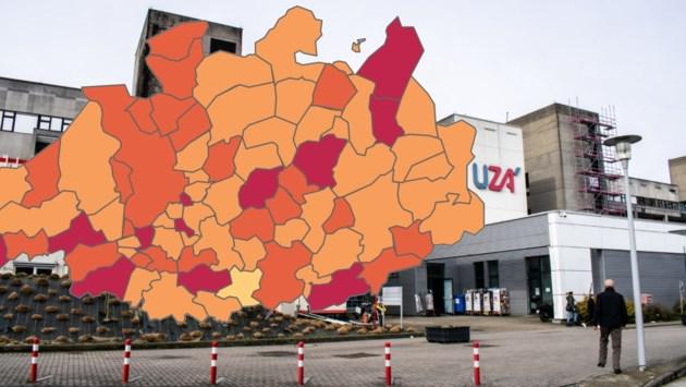 KAART. Bekijk hoe zwaar de Antwerpse gemeenten getroffen zijn door het coronavirus