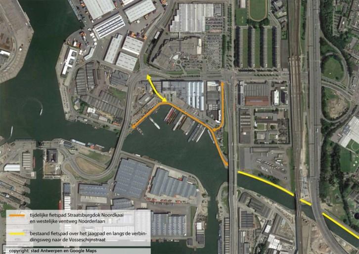 Belangrijke 'missing link' op fietsroute tussen Schoten en de haven krijgt binnenkort tijdelijk fietspad