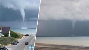 Indrukwekkend zicht aan Belgische kust: waterhoos voor strand van Oostduinkerke