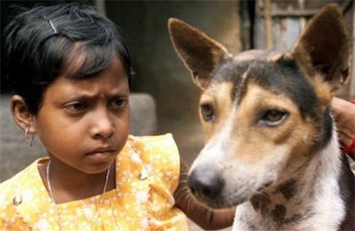 Hond en kleuter in de echt verbonden