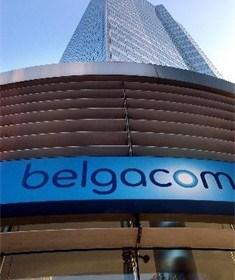 Telindus-personeel betoogt aan hoofdzetel in Brussel